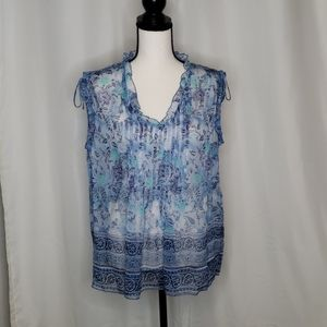 Sheer blue and white pleated top size M